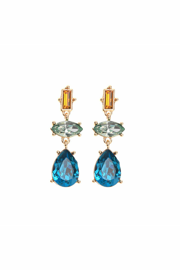 Last True Angel Trio of  gems drop earring in turquoise & aqua