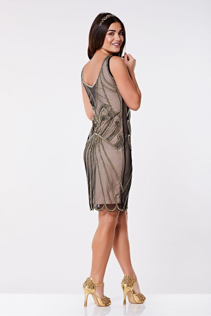 Francesca Vintage Inspired Flapper Dress - Hand Embellished Gatsbylady London