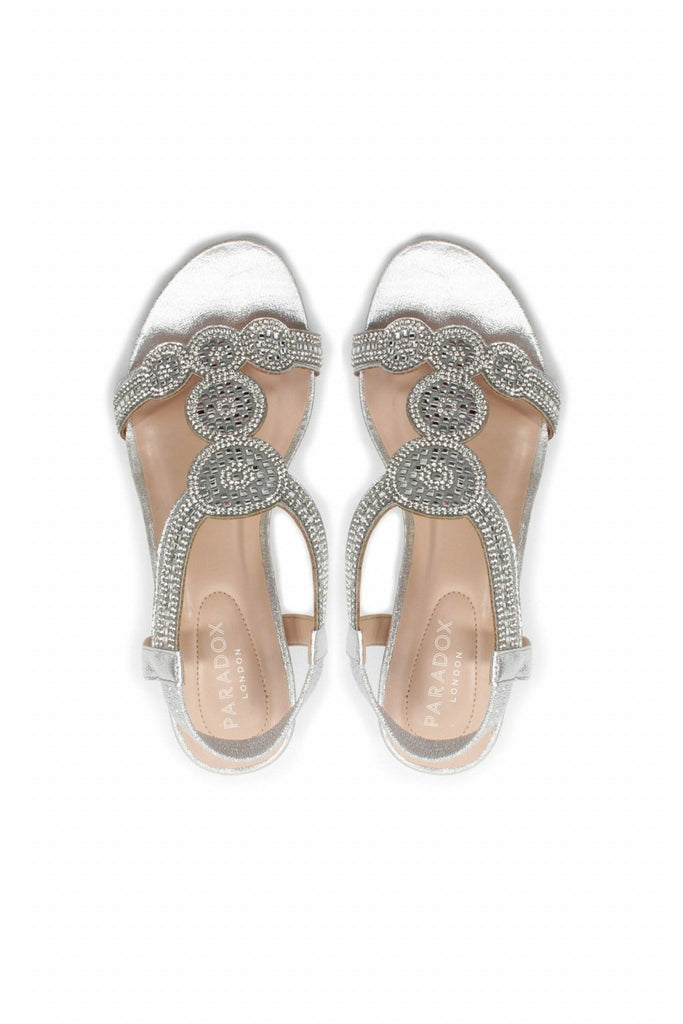 Yazzie - Silver Glitter Comfort Fit T-bar Wedge Sandals Paradox London