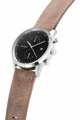 Tayroc Mens Brown Leather Chronograph Watch