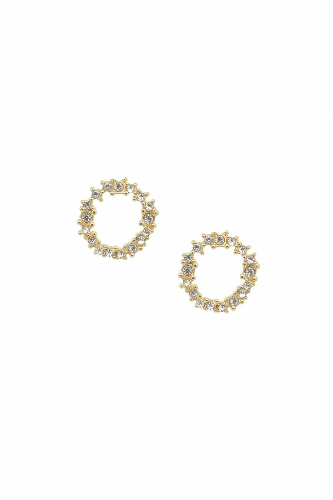 Last True Angel Crystal cluster circle earring in gold