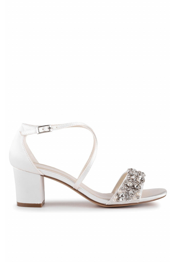 Evangeline - Ivory Satin Low Heel Ankle Strap Sandal Paradox London