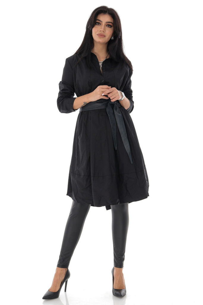 Aimelia Apparel Ladies Oversized cotton shirt dress with a button-down front