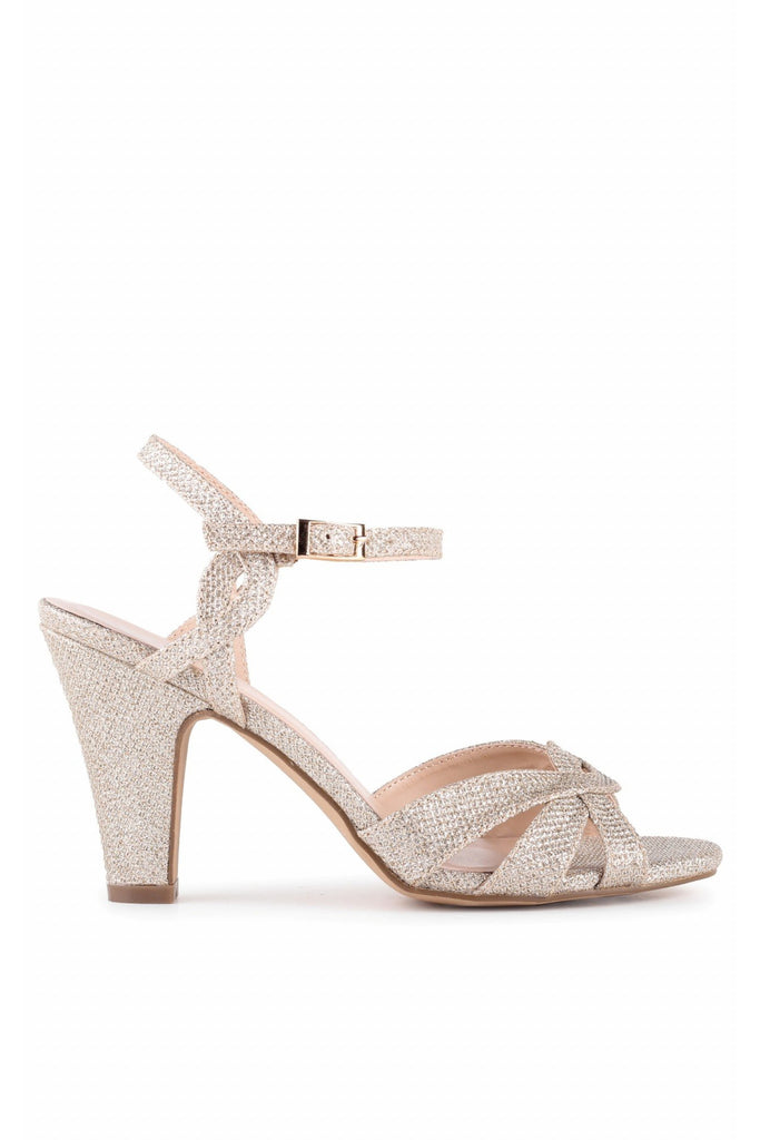 Kitty - Champagne Glitter High Heel Ankle Strap Sandals Paradox London