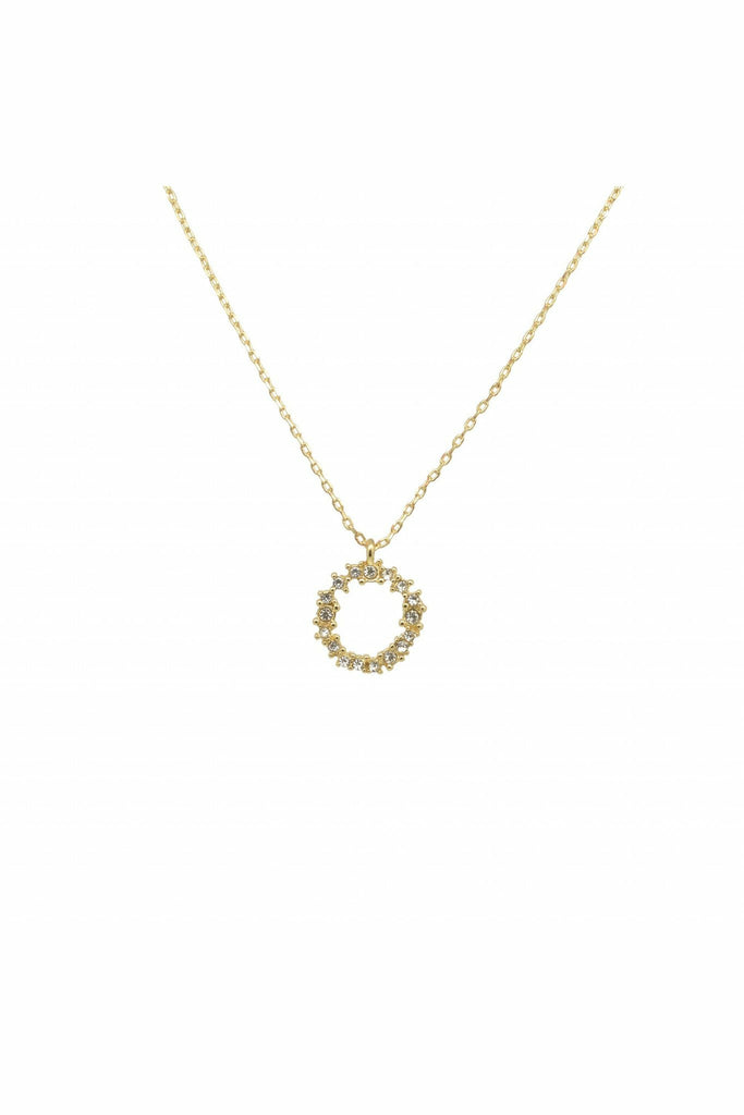 Last True Angel Crystal cluster circle necklace in gold