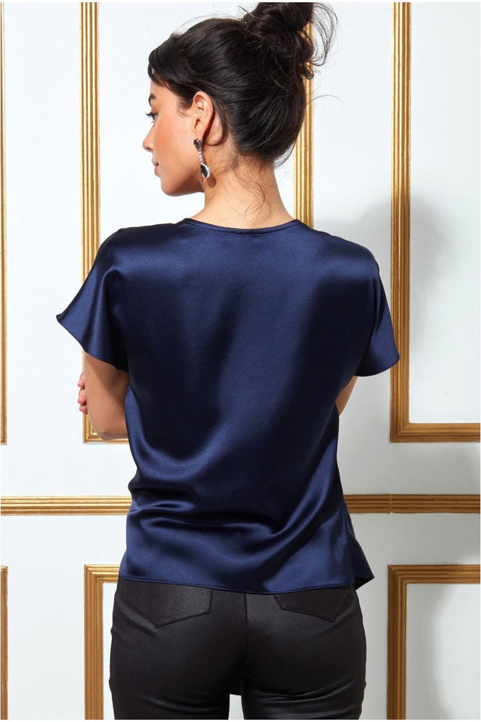 Goddiva Satin Knot Front Top - Navy