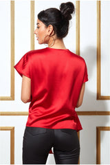 Goddiva Satin Knot Front Top - Red
