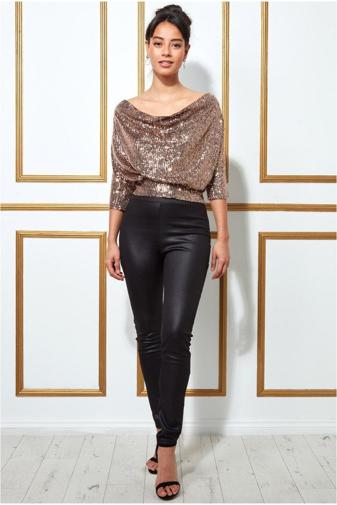 Goddiva Sequined Cowl Neck Crop Top - Champagne