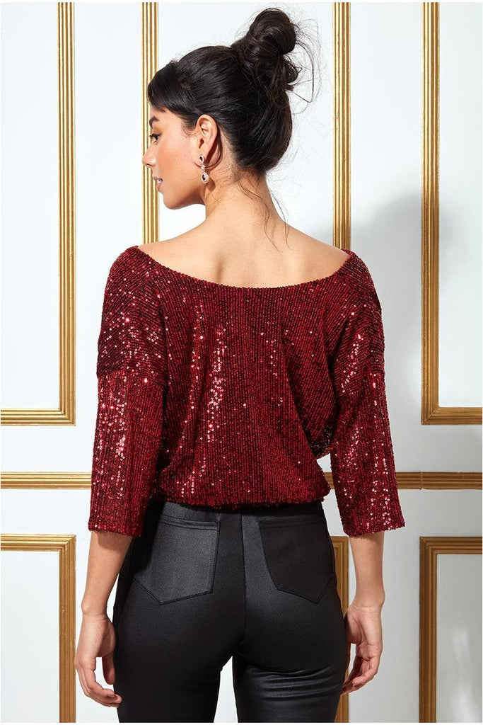 Goddiva Sequined Cowl Neck Crop Top - Red