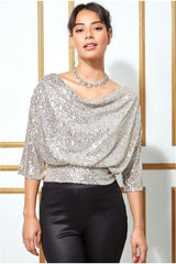 Goddiva Sequined Cowl Neck Crop Top - Silver