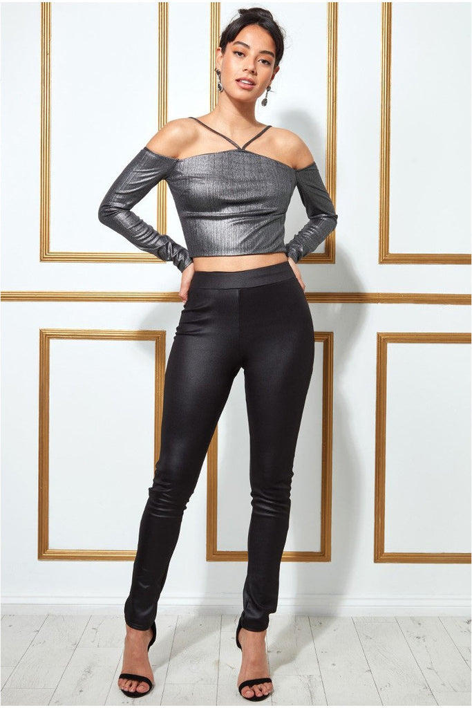 Goddiva Metallic Cut Out Crop Top - Dullsilver