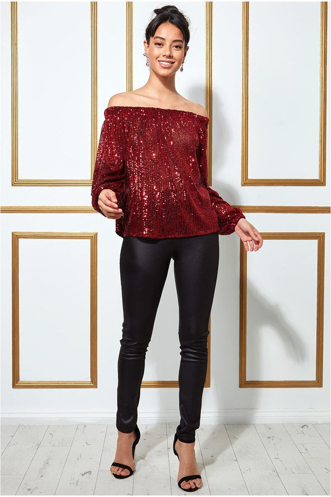 Goddiva Bardot Sequin Crop Top With Cuffed Sleeves - Red