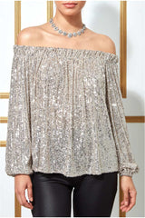 Goddiva Bardot Sequin Crop Top With Cuffed Sleeves - Silver