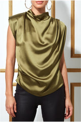Goddiva High Collar Satin Top with Shoulder Pads - Khaki