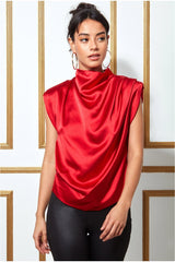 Goddiva High Collar Satin Top with Shoulder Pads - Red