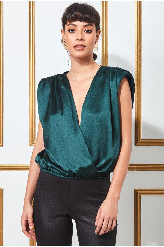 Goddiva Satin Wrap Style Top with Shoulder Pad - Emerald
