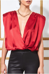 Goddiva Satin Wrap Style Top with Shoulder Pads - Red