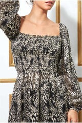 Goddiva Foil Print Shirred Body Long Top with Sleeves - Black