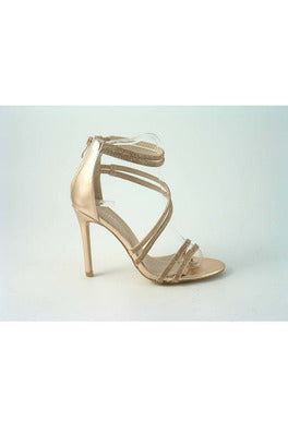 Divine Doubled Strap Diamante Sandals Glitz Shoes