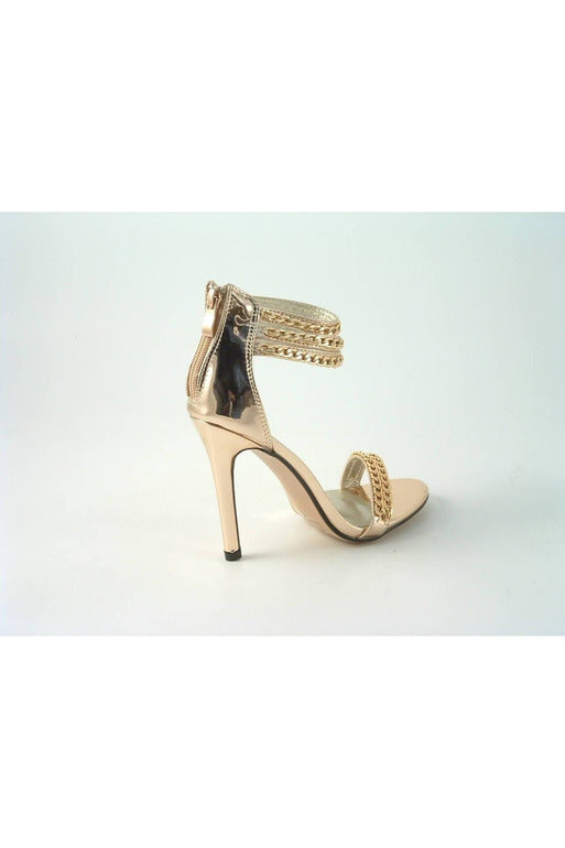 Metallic Chain Barely There Sandal Divine Glitz Shoes