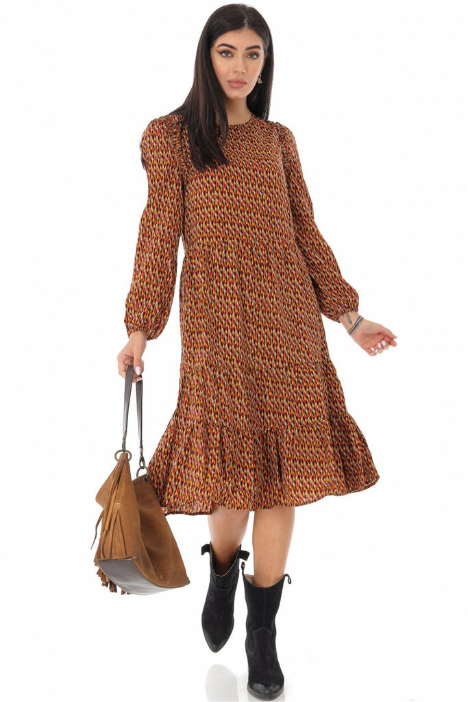 Aimelia Apparel Rust tiered midi in a ditsy print