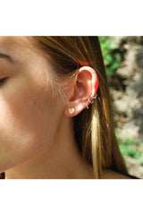 White Leaf Small heart earring in rose gold