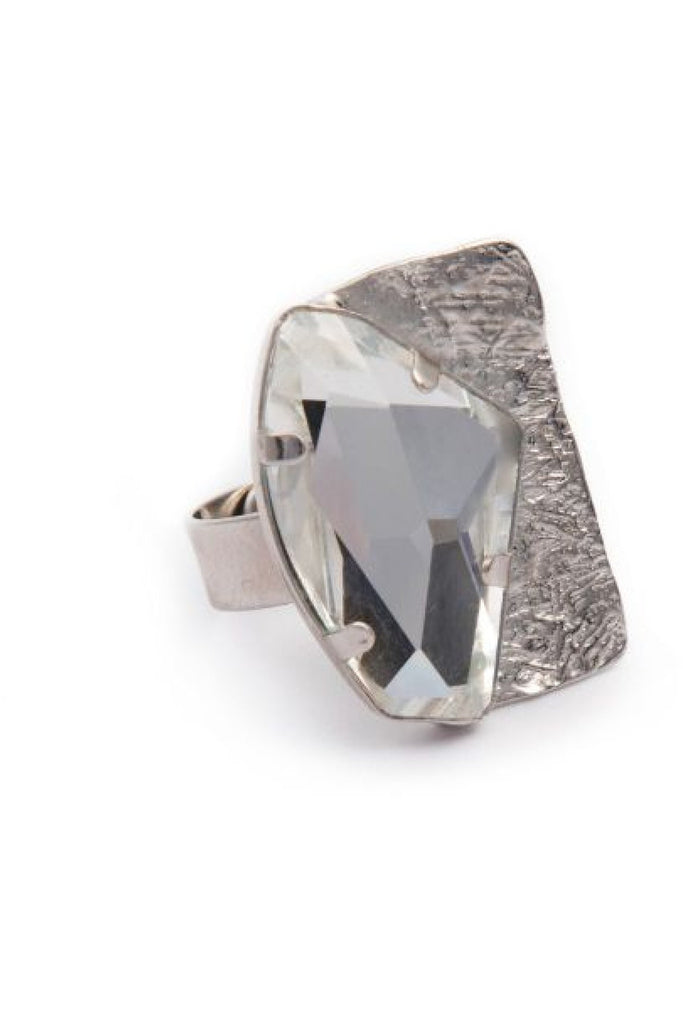 Silver Crystal Ring Dora Georgiou