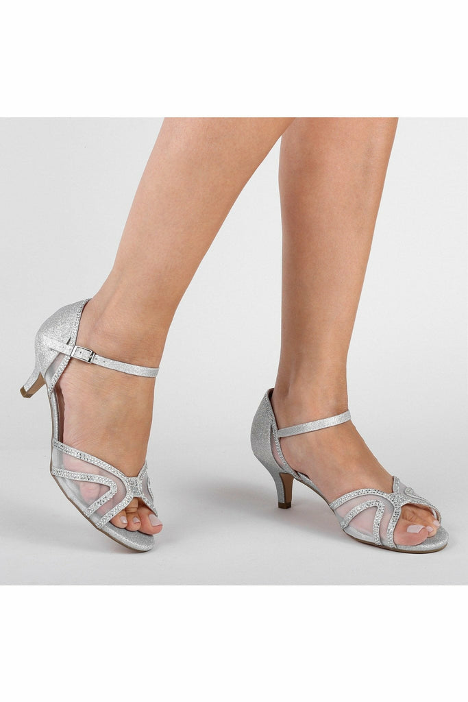 Paradox London Etta - Silver Glitter Wide Fit Low Heel Ankle Strap Sandals