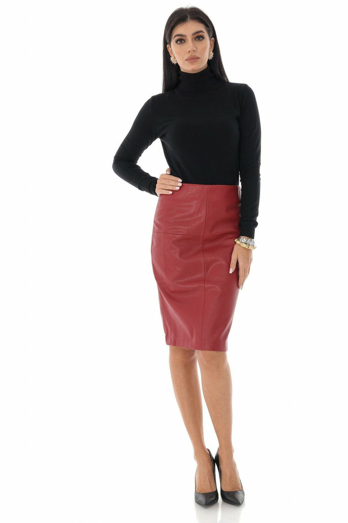 Aimelia Apparel Ladies Faux lined leather pencil skirt