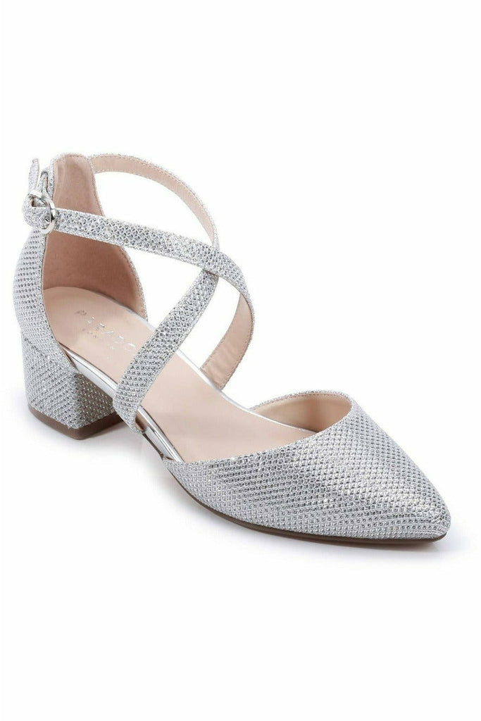 Paradox London Glitter Mesh 'Francis' Wide Fit Low Heel Two Part Shoe - Silver