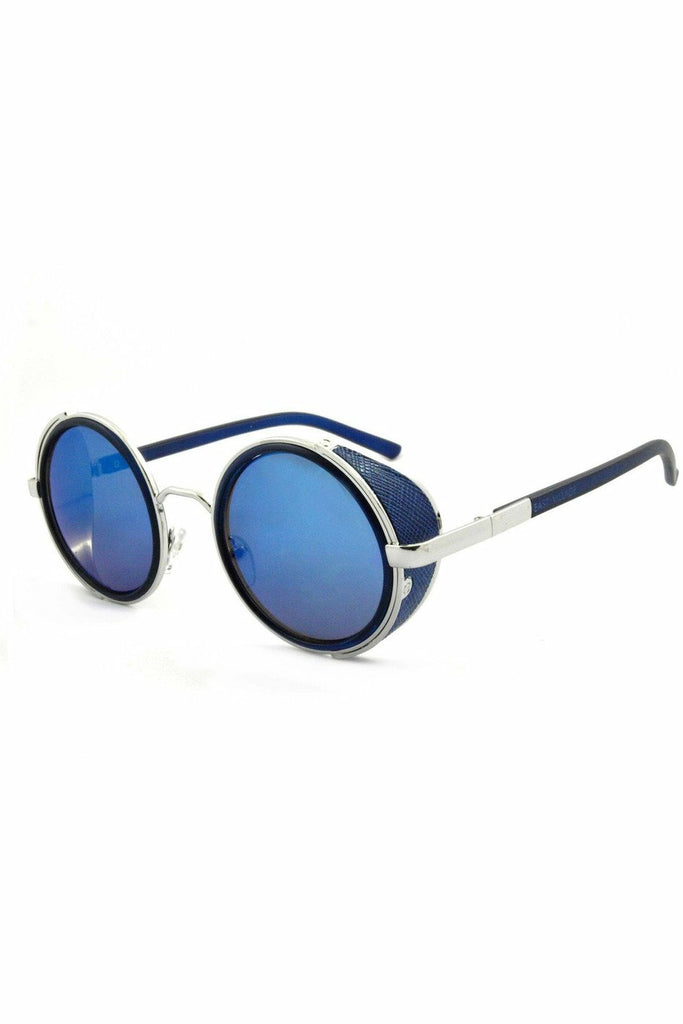 East Village 'Freeman' Round Sunglasses With Side Shield In Blue