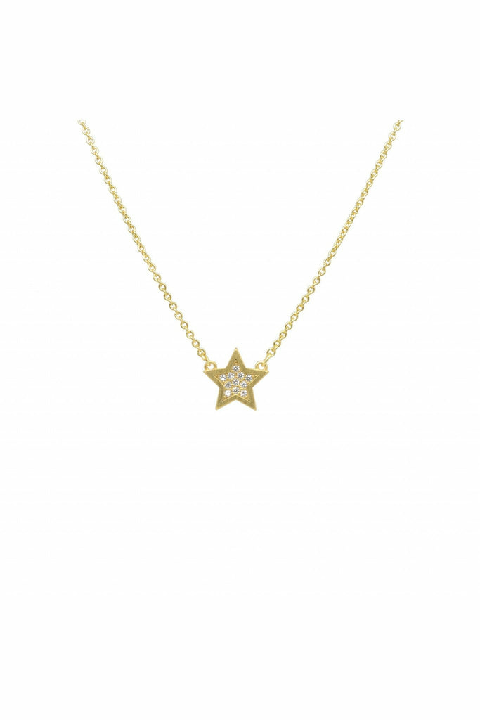 WHITE LEAF CRYSTAL STAR NECKLACE IN GOLD