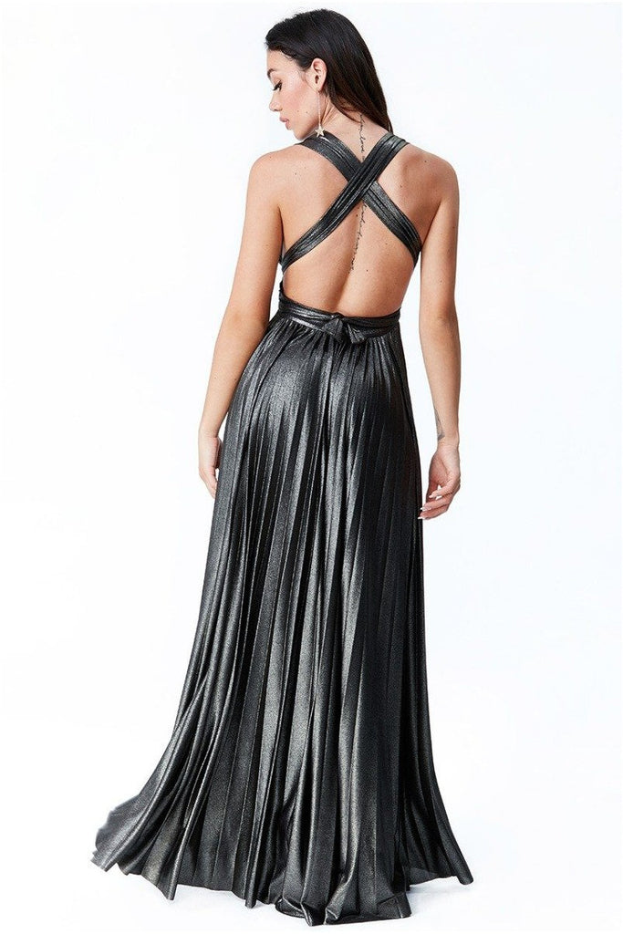 Goddiva Deep V Neck Metallic Maxi Dress - Black