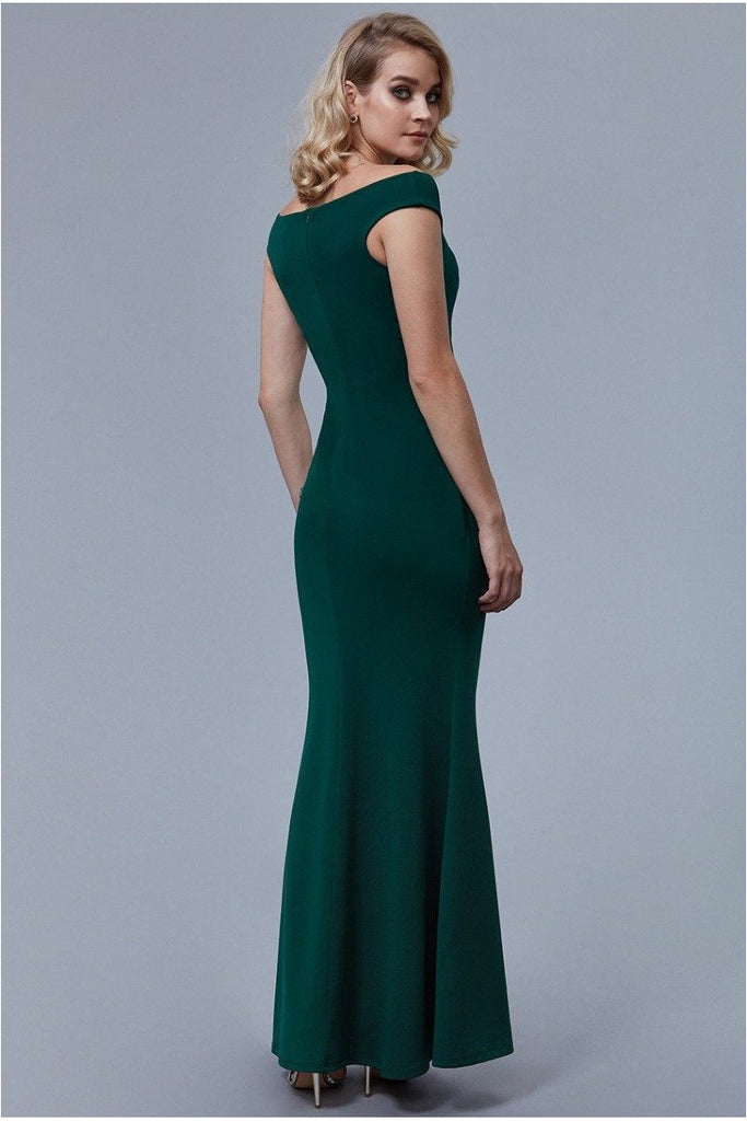 Fishtail Maxi Dress with Pleating Detail - Emerald