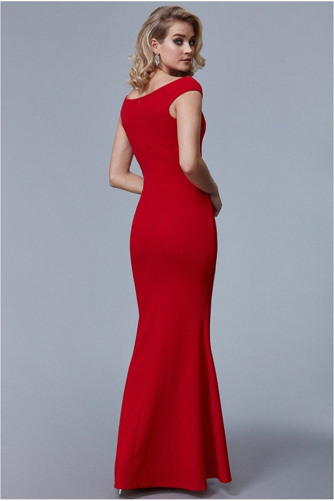 Fishtail Maxi Dress with Pleating Detail - Red