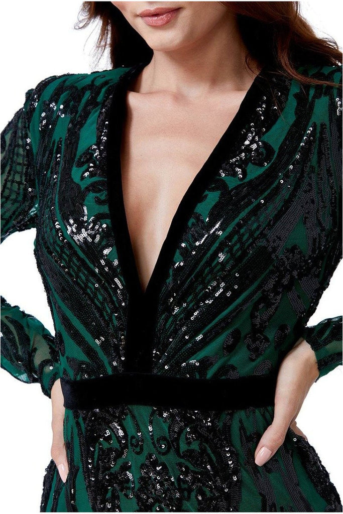 Goddiva Embroidered Sequin Maxi Dress  - Emerald