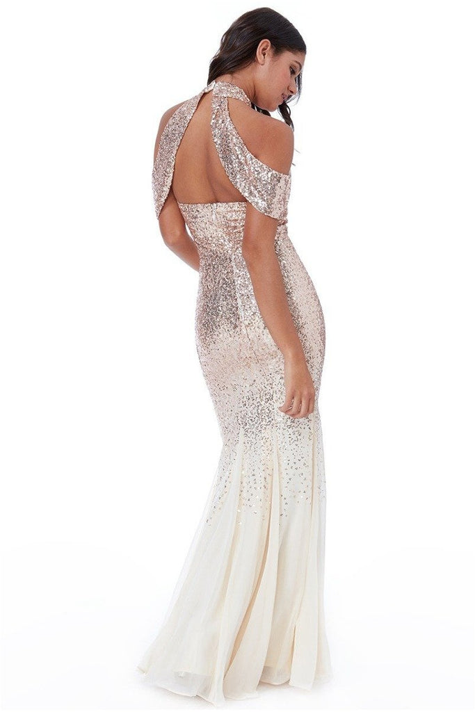 Cut Out Sequin and Chiffon Maxi Dress - Champagne