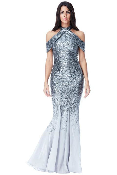 Cut Out Sequin and Chiffon Maxi Dress - Silver