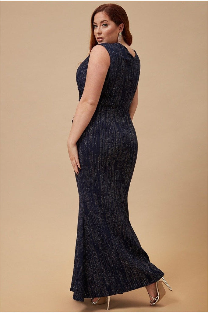 Goddiva Plus Glitter Maxi Dress with Pleated Waist - Navy