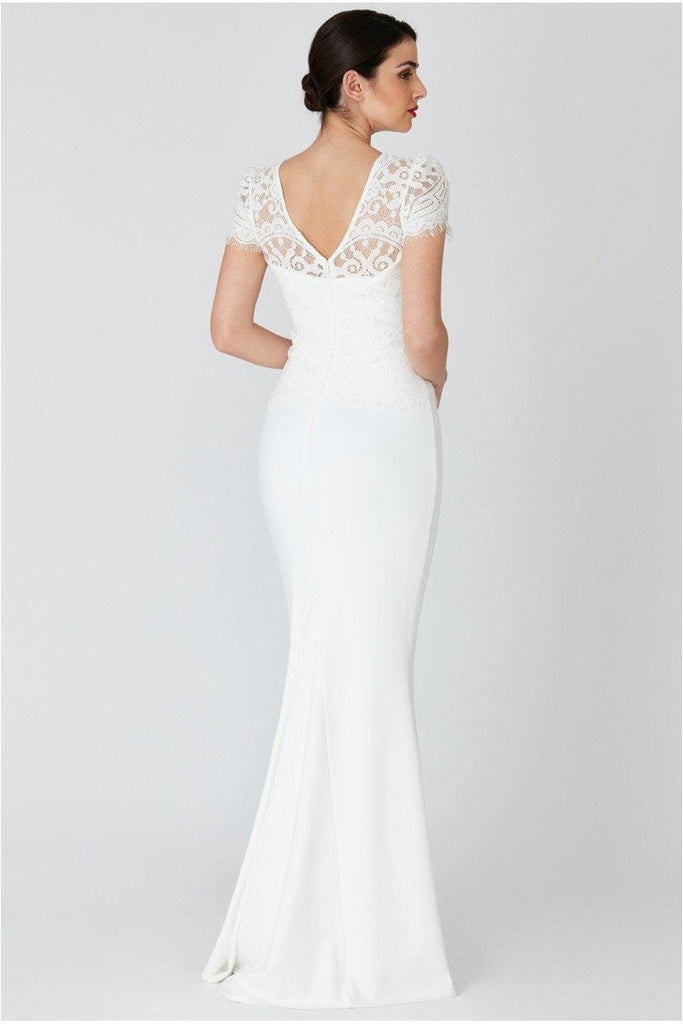 Goddiva Lace Bodice Wedding Dress with Cap Sleeves - White