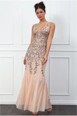 Sequins and Mesh Maxi Dress - Nude