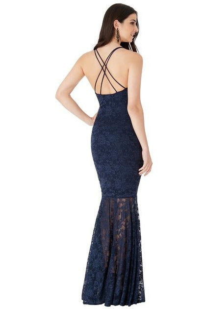Plunge Lace Maxi Dress with Mermaid Hem - Navy