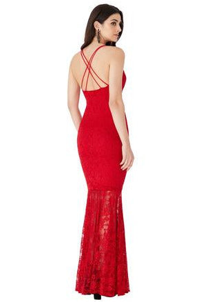 Plunge Lace Maxi Dress with Mermaid Hem - Red
