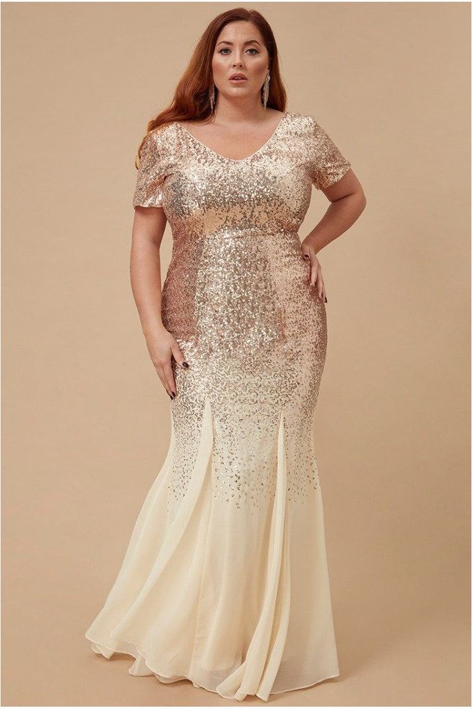 Goddiva Plus Sequin & Chiffon Maxi Dress - Champagne