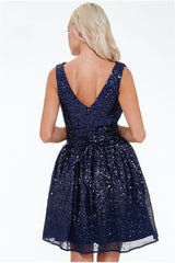 Sequin and Chiffon Belted Skater Dress - Navy