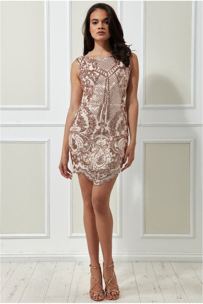 Goddiva Sequin Scalloped Hem Mini Dress - Blush