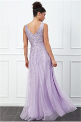 Goddiva Sunray Sequin Maxi Dress - Lavender