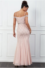 Goddiva Off the Shoulder Embroidered Sequin Maxi Dress - Blush
