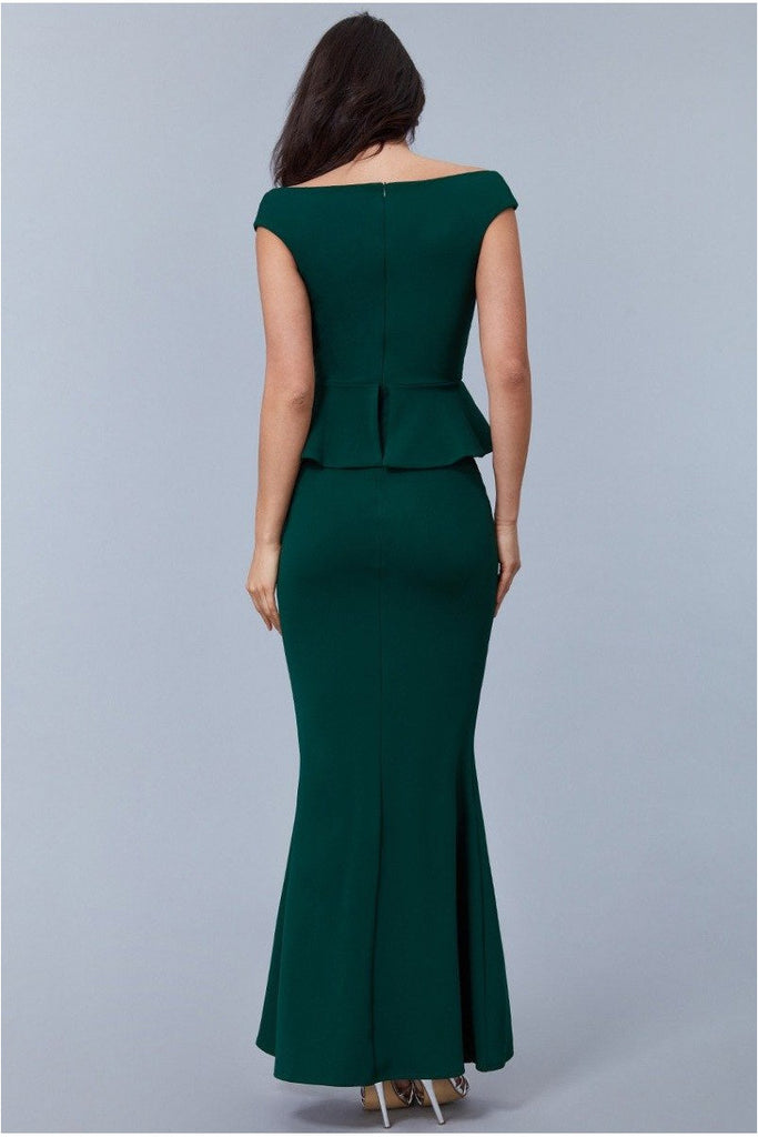 Goddiva Cross Over Peplum Maxi Dress - Emerald