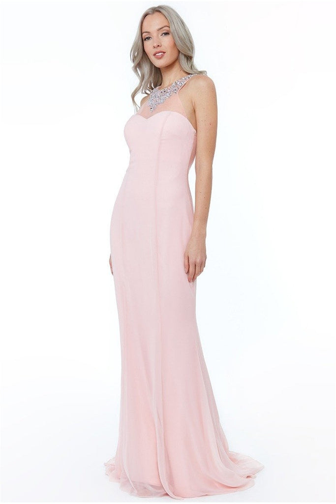 High Neck Embellished Maxi Dress - Blush